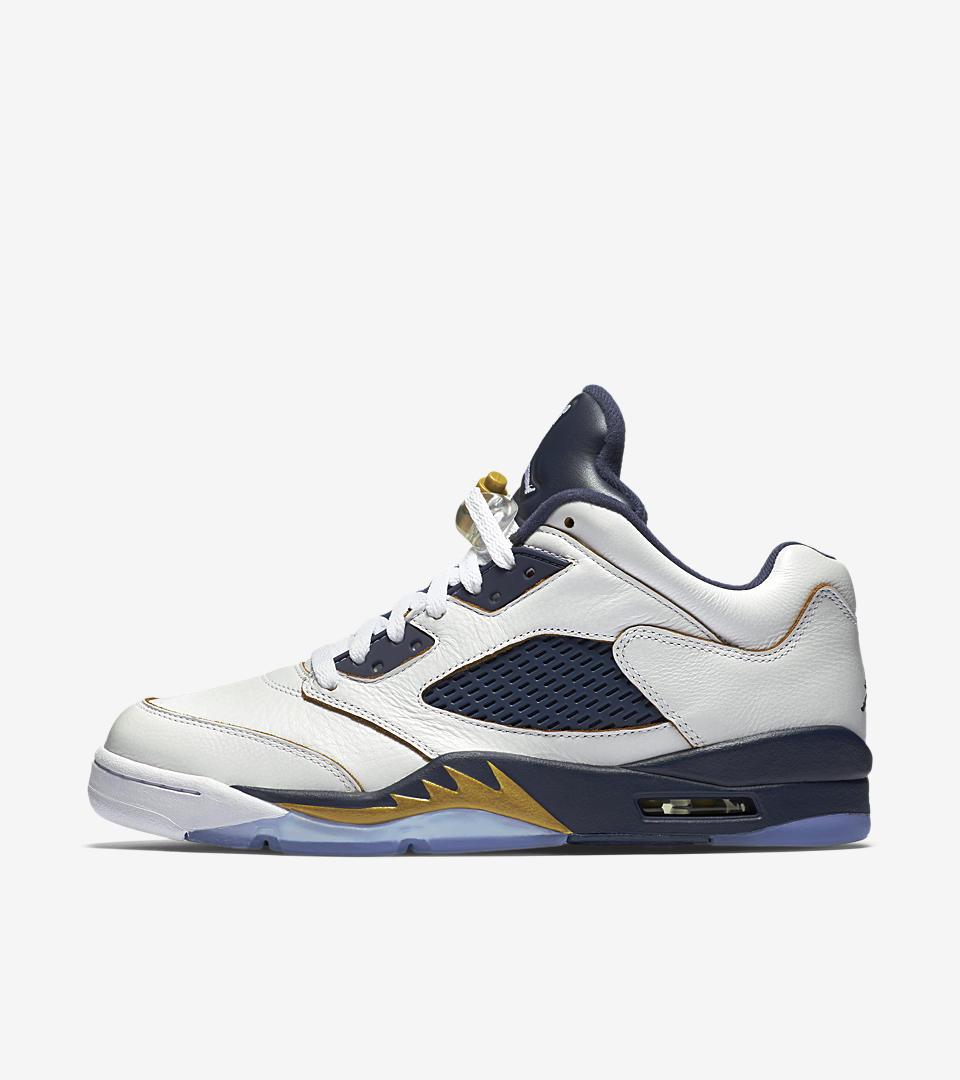 Nike Jordan 5 Retro Low Kids Shoes White/Midnight Navy/Metallic Gold