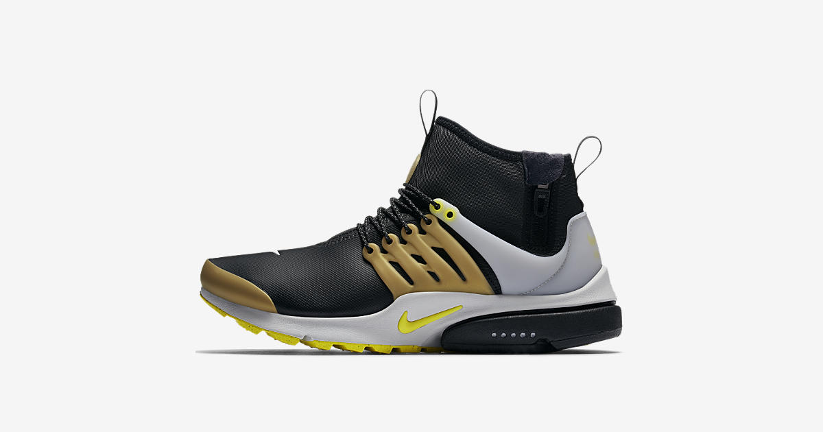 nike air presto mid utility sneakerboot 39 black metallic. Black Bedroom Furniture Sets. Home Design Ideas