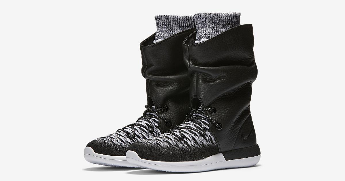 Nike Sportswear ROSHE TWO FLYKNIT Trainers black/white/wolf