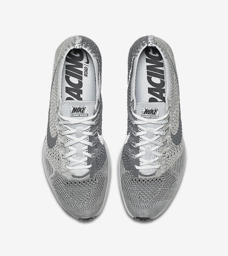 official photos 0a36c a4757 nike flyknit racer white silver
