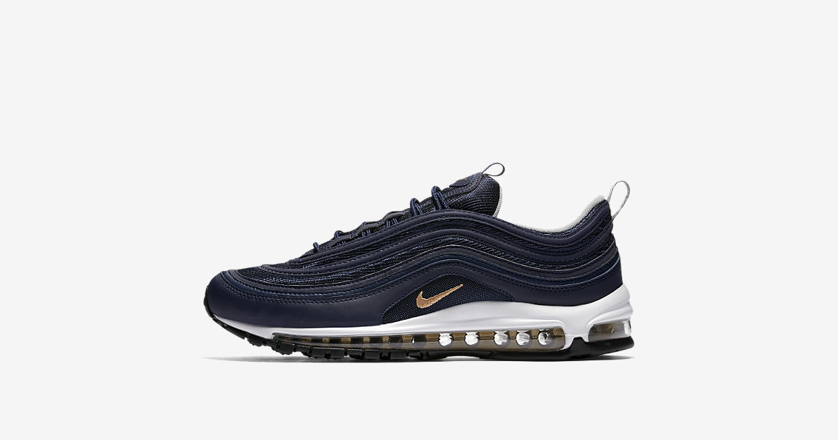 Date de sortie de la Nike Air Max 97 « Midnight Navy & Metallic Gold ».  Nike⁠+ Launch FR
